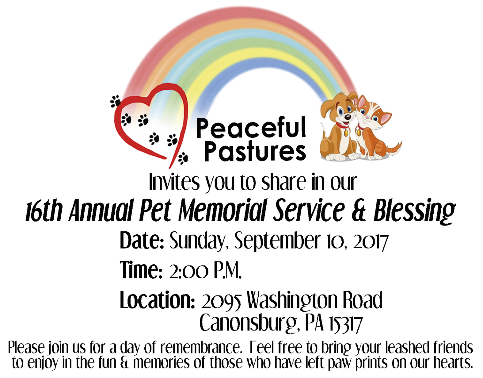 Peaceful Pastures 16th Annual Pet Memorial Service & Blessing